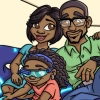 Children's Book African American family flying upstairs illustration