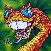 Bush Viper Snake with buck teeth Cartoon Drawing