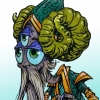 Wise Old Three-Eyed Alien Shaman Character Creature Concept Illustration