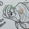 Fish Creature Concept Artwork Tusked Striped with Eyebrows Fish