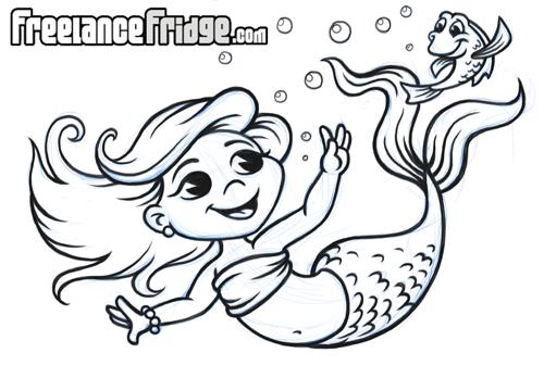 cartoon mermaid girl