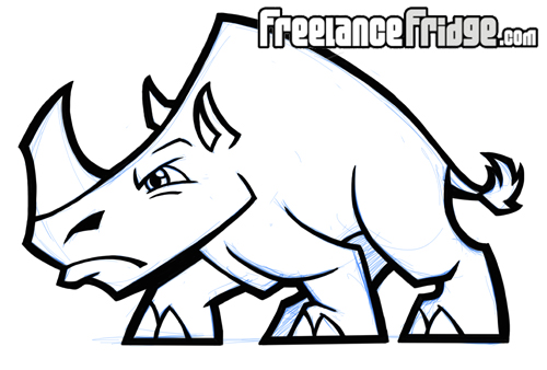 Angry rhino cartoon stylized rhino cartoon charging rhino drawing
