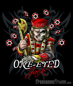 POKER One Eyed Jack t-shirt design illustration