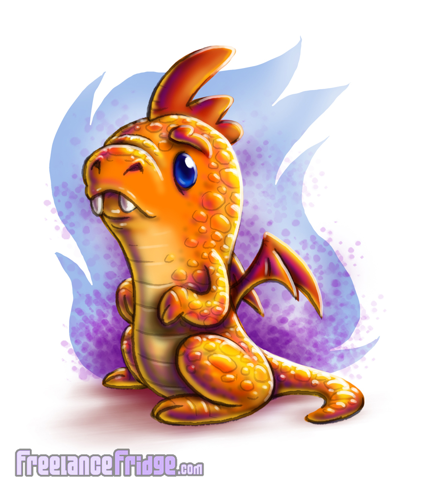 Cute Cartoon Little Dragon Character Design