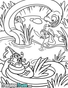Salamander Knight Recuing Princess Hedgehog inked