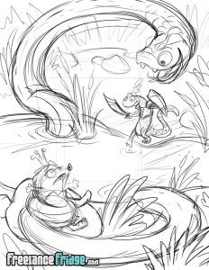 Salamander Knight Rescuing Princess Hedgehog sketch