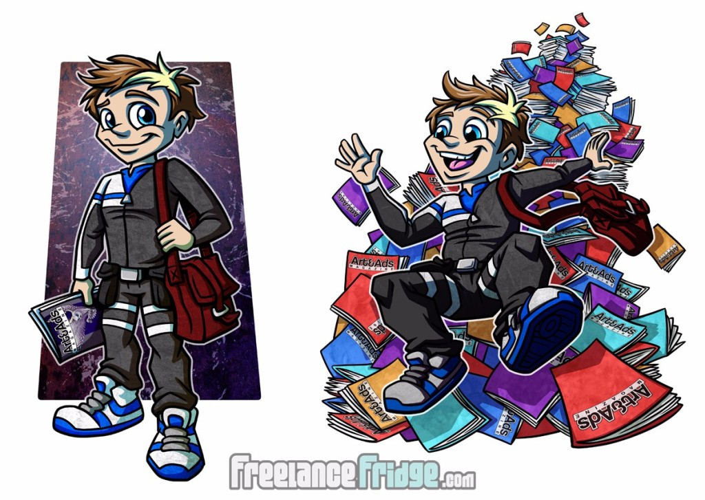 cartoon scifi delivery boy character design final illustrations