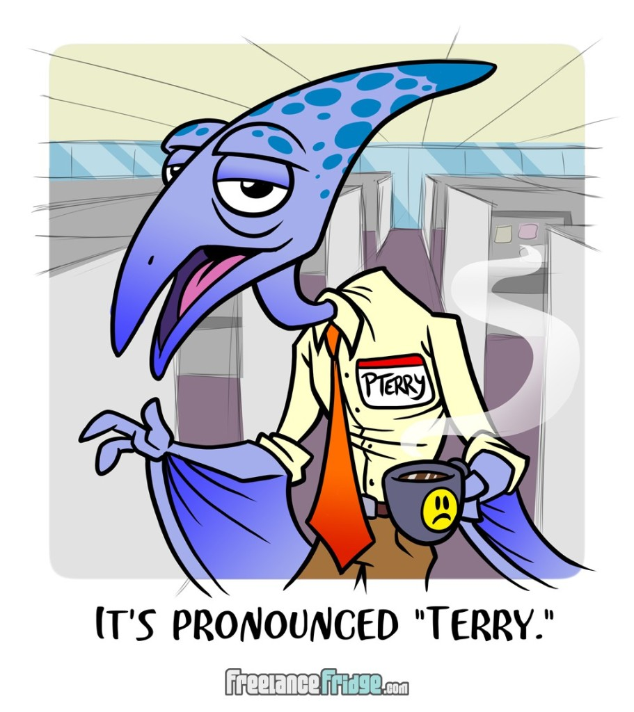 funny pterodactyl dinosaur office cartoon