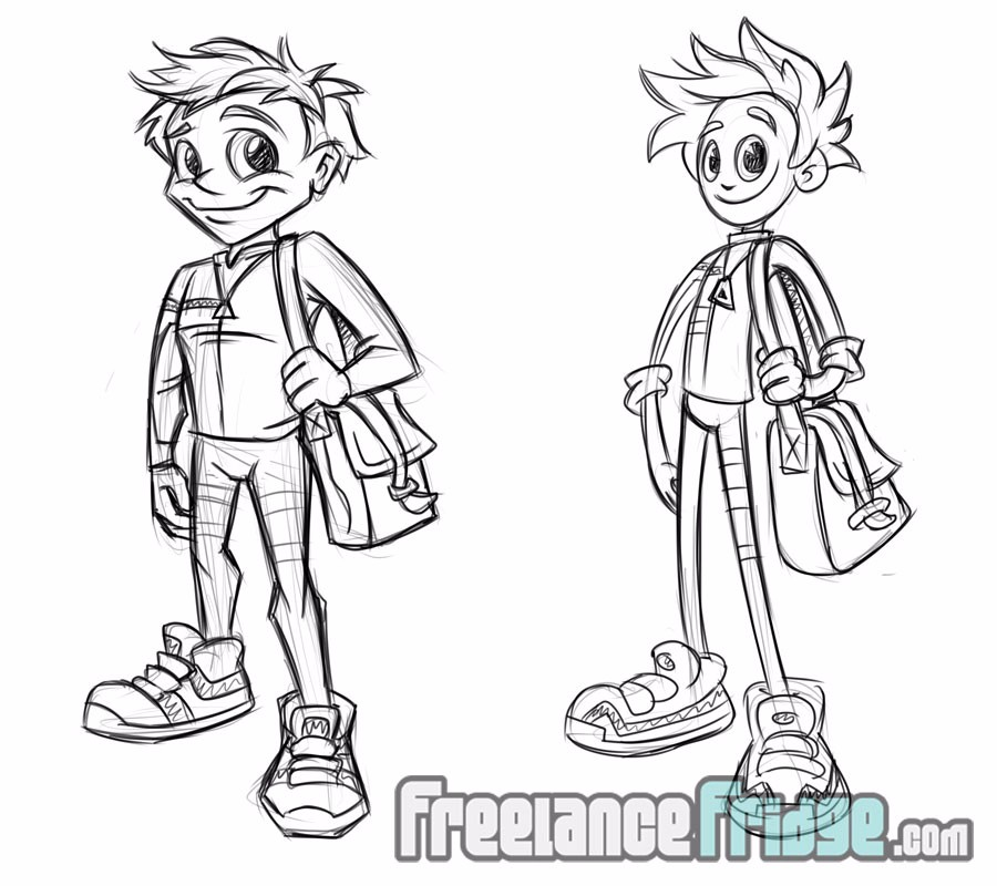 delivery boy cartoon character development sketches for art magazine mascot