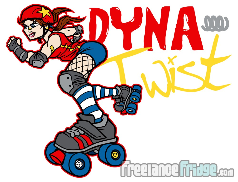 Vector Art Character Design for Roller Derby Girl Product
