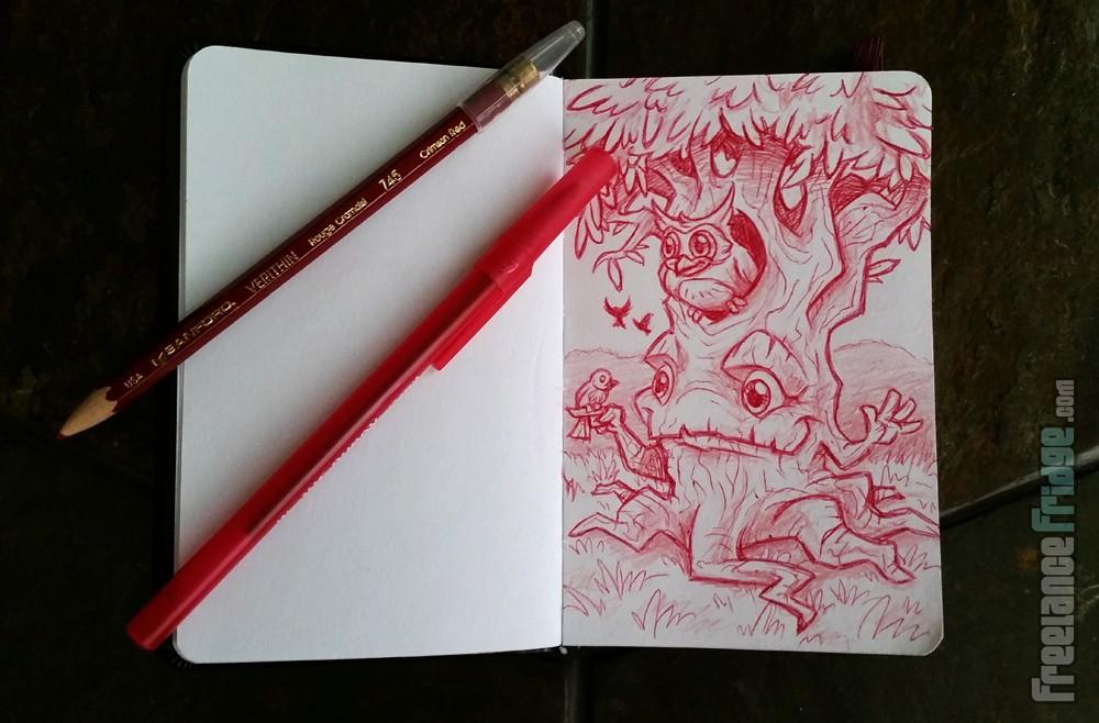 Cartoon Tree Character cartoon in my travel sketchbook