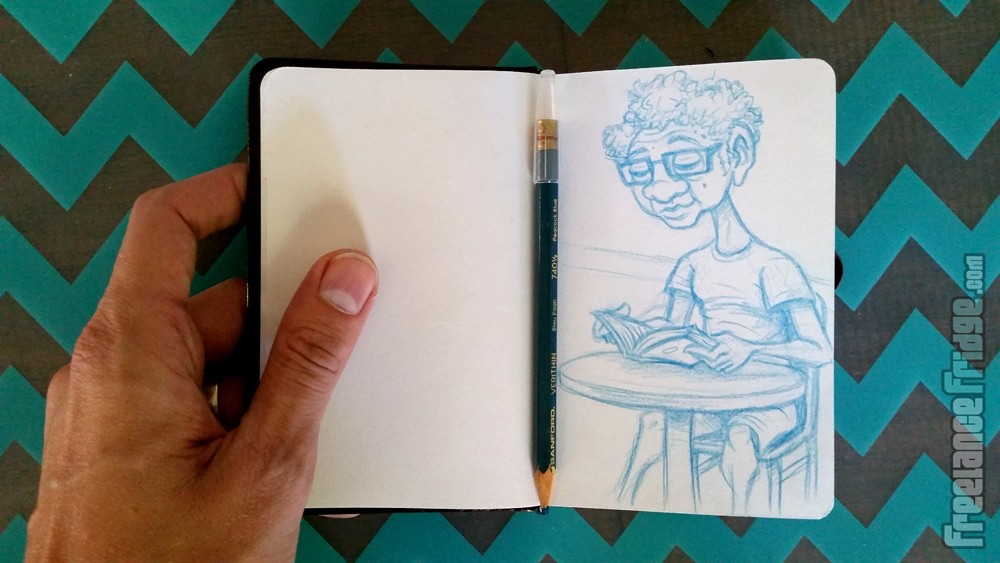 sketch of an Asian man with crazy curly hair in starbucks