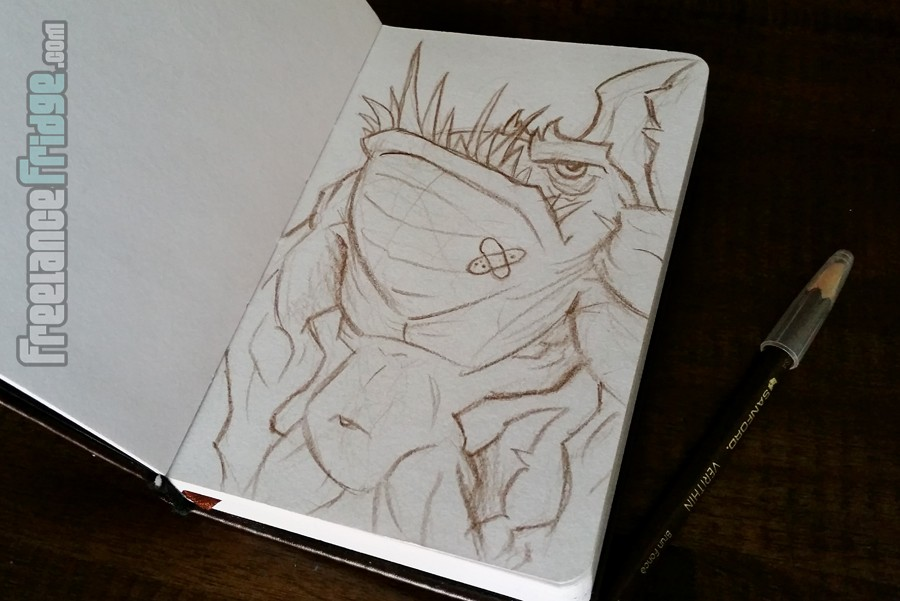 Cartoon Shark Beast Monster Creature Drawing in my Travel Sketchbook