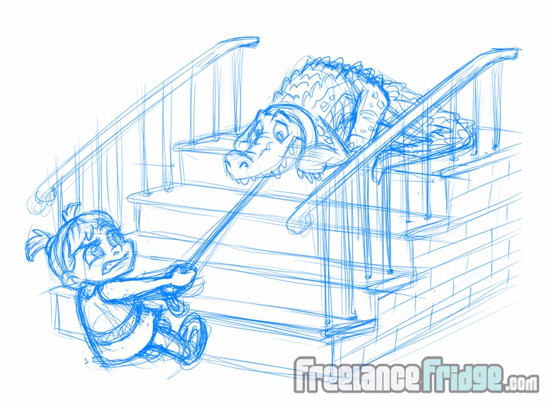 Cartoon gator scared to come down the stairs with girl owner pulling the leash