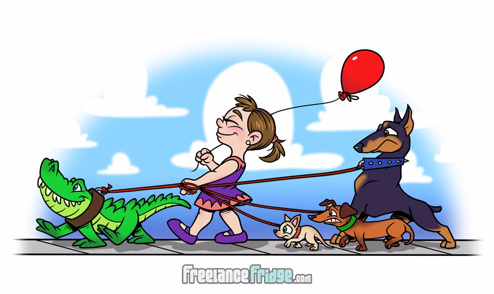 Cute little girl walking scared dogs and a happy alligator funny cartoon illustration