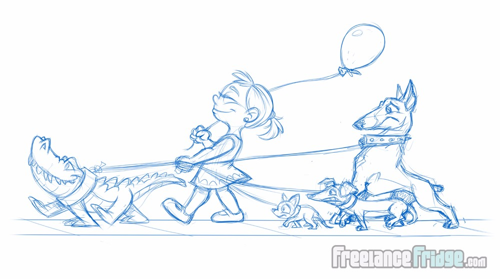 Brave girl walking dogs and a gator on leashes cartoon sketch