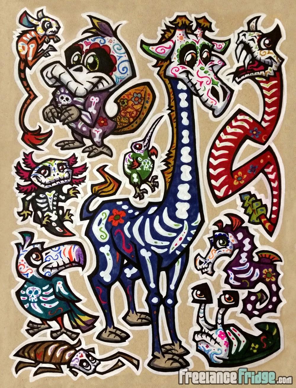 Day of the dead style cartoon giraffe platypus slug seahorse toucan kiwi bird axolotl kangaroo rat rattlesnake
