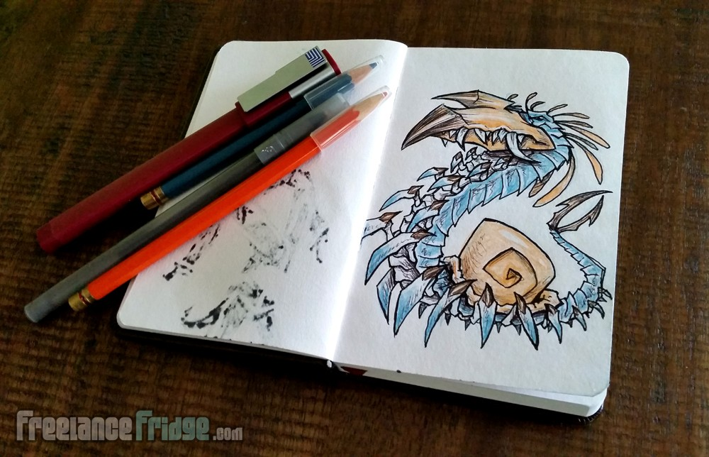sketch and ink of creature monster centipede beaked snail shell critter