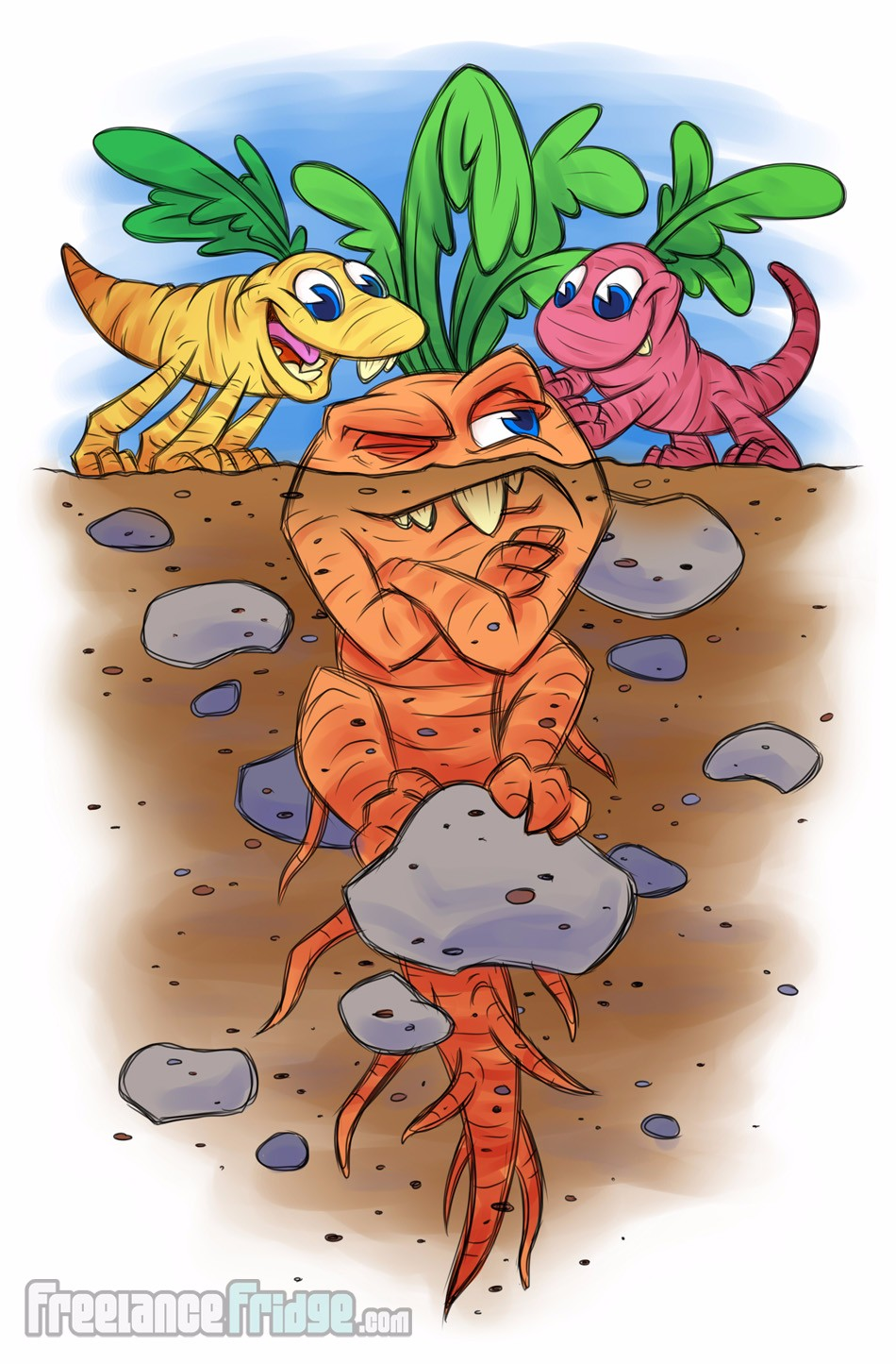 Cartoon Carrot Root Dinosaur Characters Creatures, little dinos trying to get older root creature to come out of the ground into the sunlight