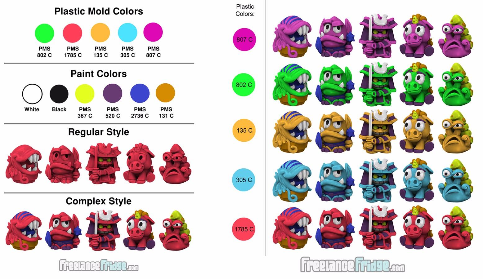 Fantasy SciFi Imaginative Cartoon Imagiminis Set 2 Toy Figurines Paint and Plastic Colors