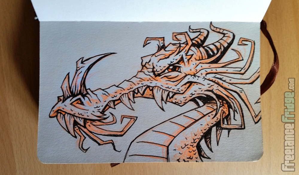 Sketched and Inked Cartoon Dragon Head character