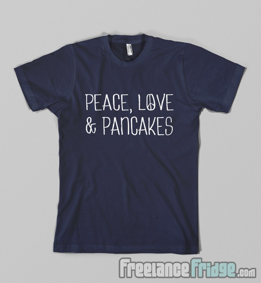 Brandys restaurant text-based T-shirt Design Peace Love and Pancakes