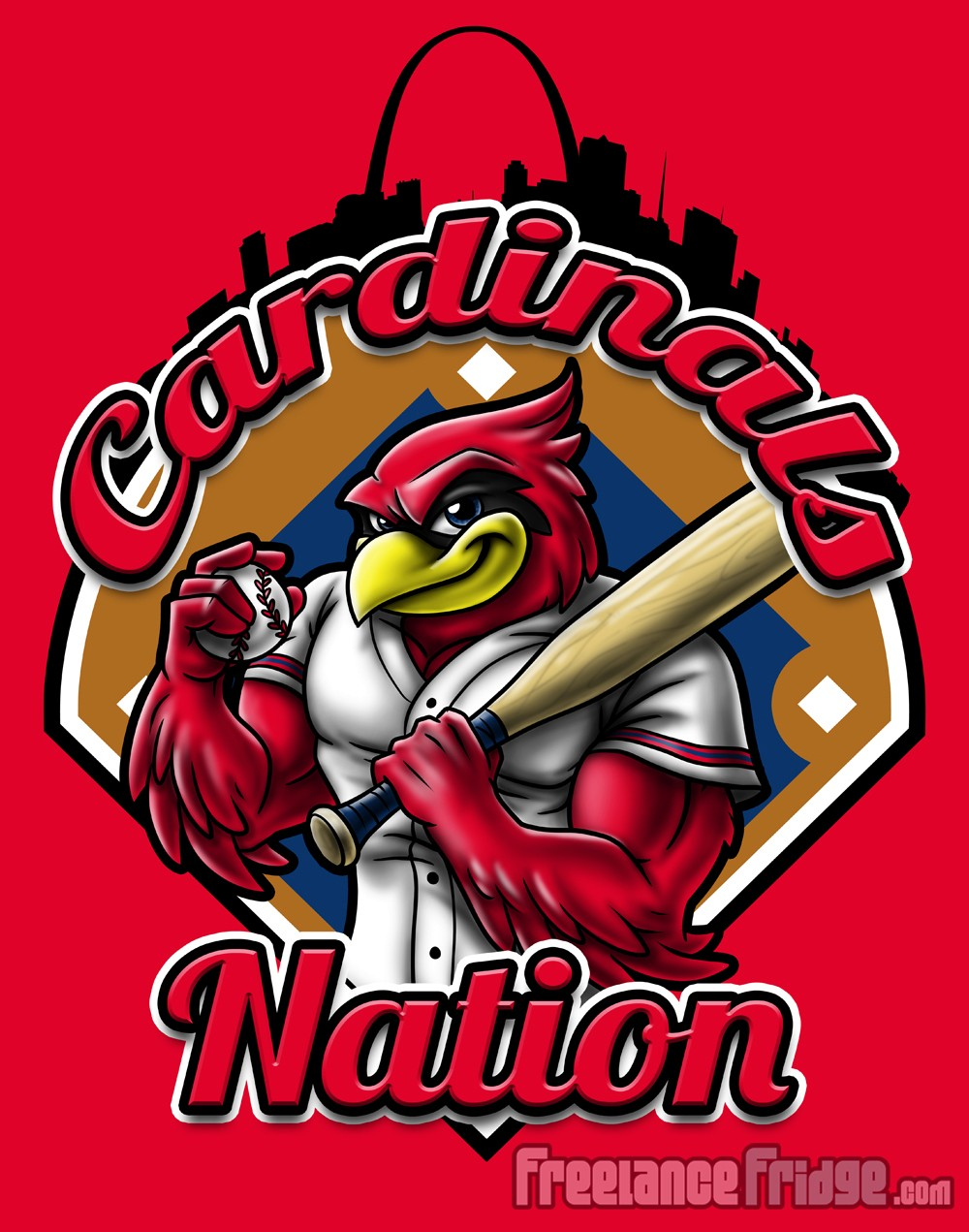 Design t shirt baseball - Cardinal Mascot Baseball T Shirt Design