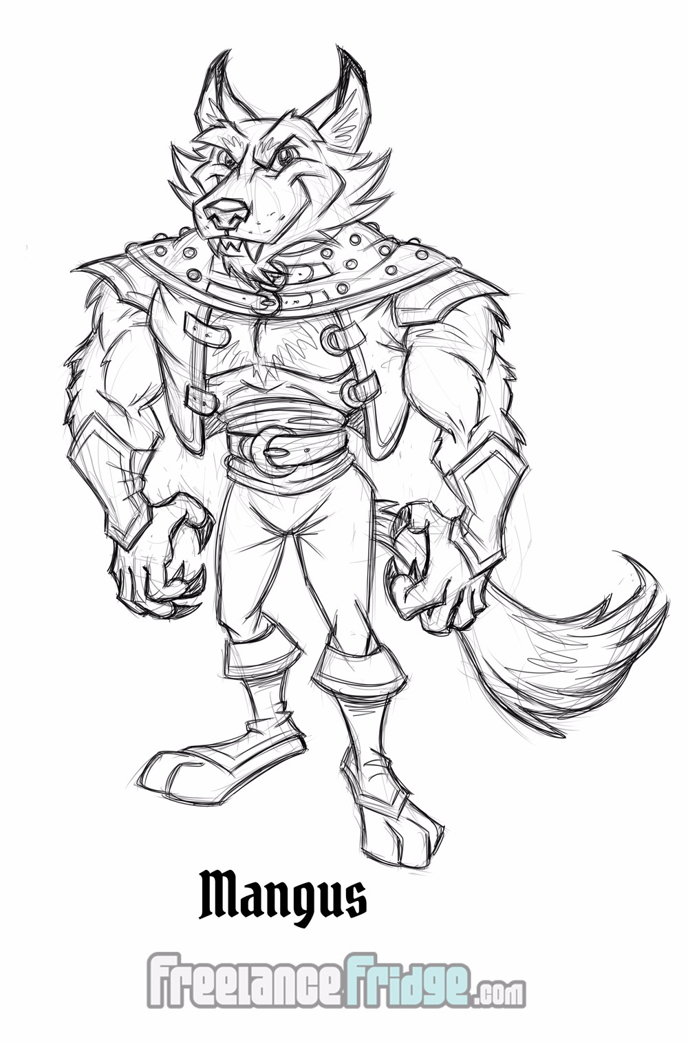 Fairy Tale Fantasy Character Sketch Concept Big Bad Wolf Mangus for Comic Book