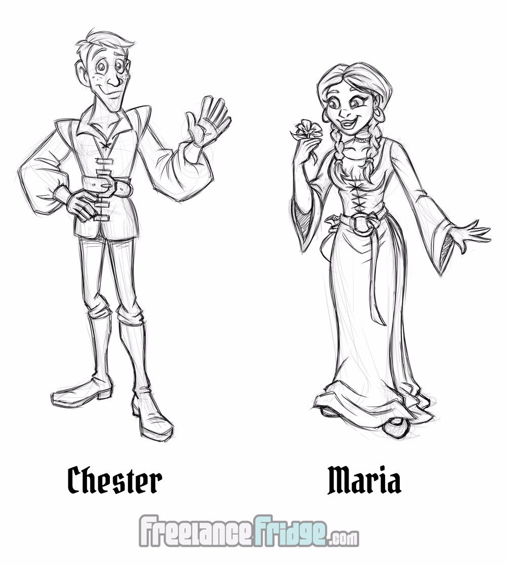 Fantasy Fairy Tale Character Sketch Concepts Chester and Maria for Comic Book