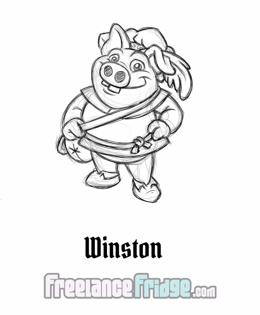 Fairy Tale Fantasy Character Sketch Concept Pig Winston for Comic Book