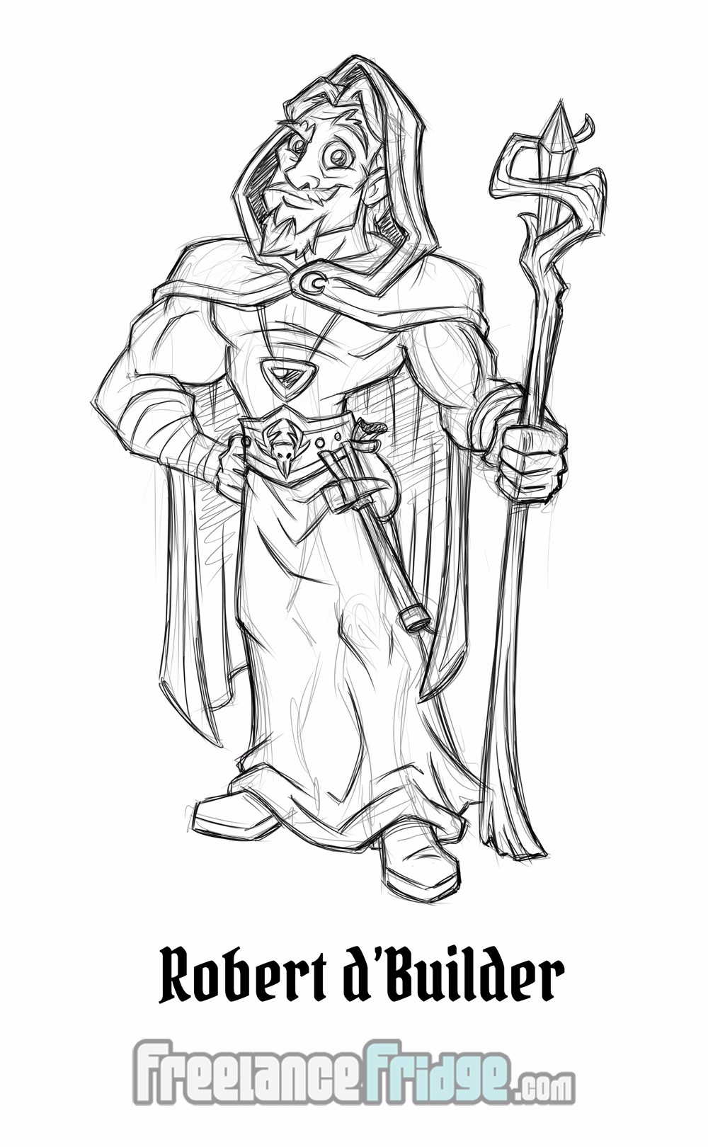 Fantasy Fairy Tale Character Sketch Concept Wizard Robert for Comic Book