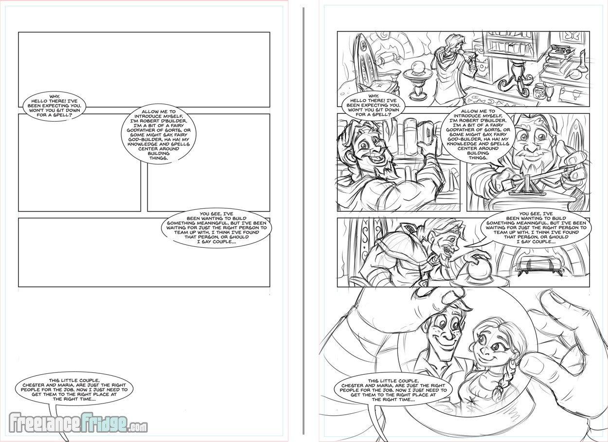 Fantasy Fairy Tale Chesmar Comic Book Interior Page Sketch and Frame Layout Design