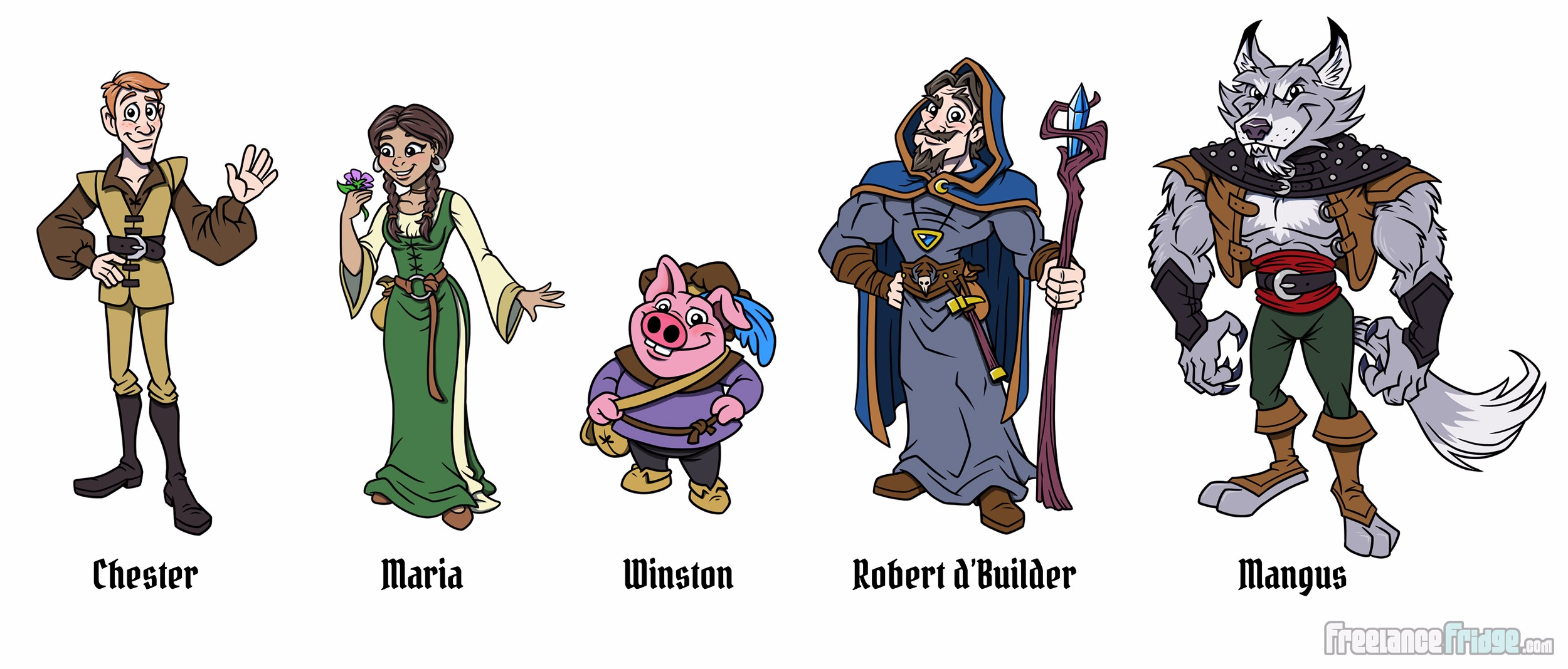Fantasy Fairy Tale Character Designs for Cartoon Comic Book