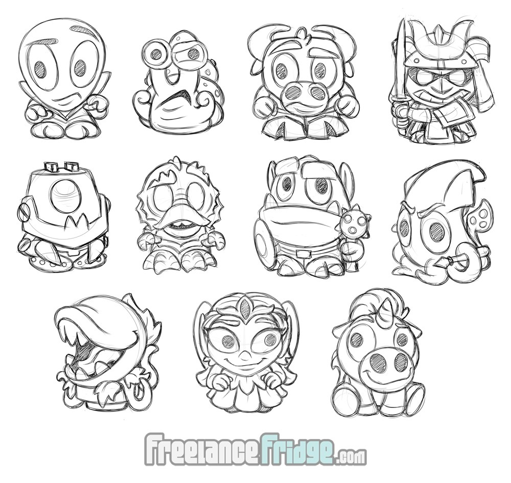 Fantasy SciFi Cartoon Cute Imagiminis Toy Figurines Concept Art Character Sketches