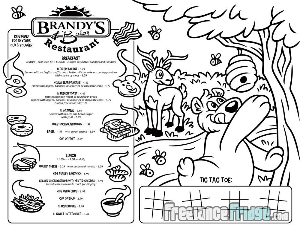 Kid's Restaurant Coloring & Activities Cartoon Placemat Menu Front side