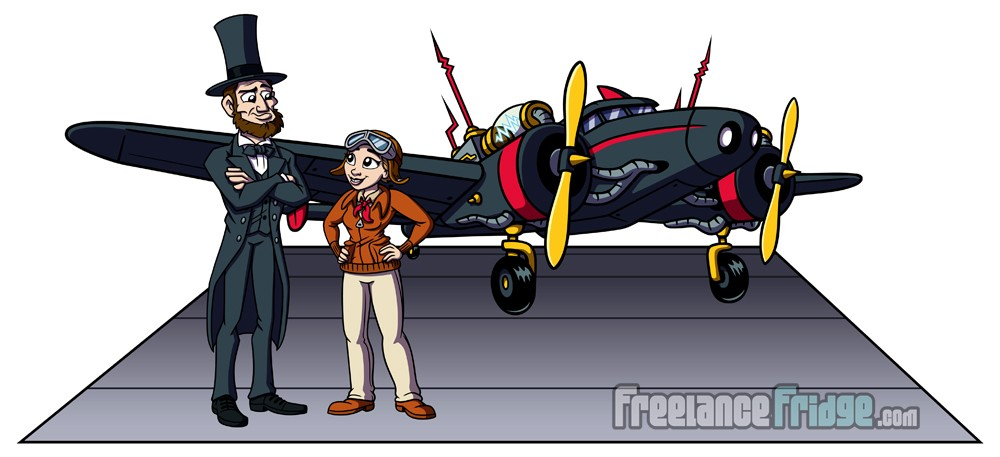 history educational character designs Abraham Lincoln Amelia Earhart with plane