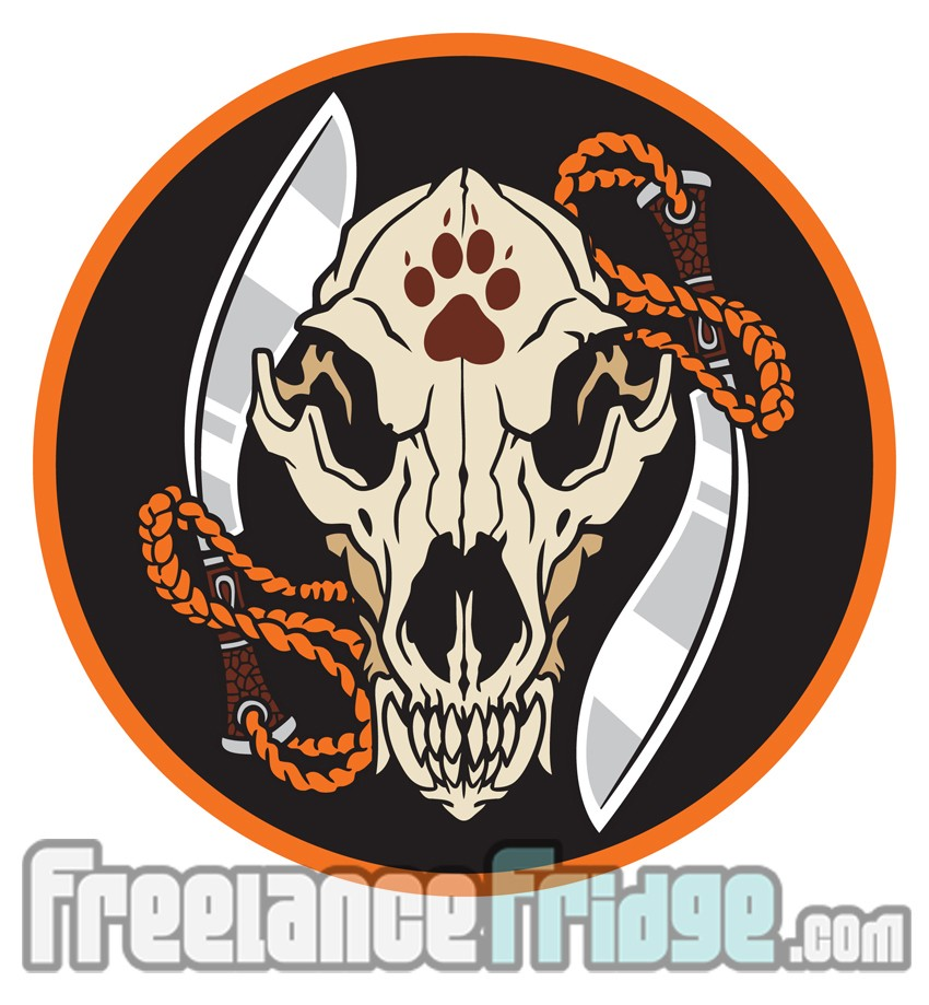 Wolf Skull Knife Blades Embroidered Patch Icon Design