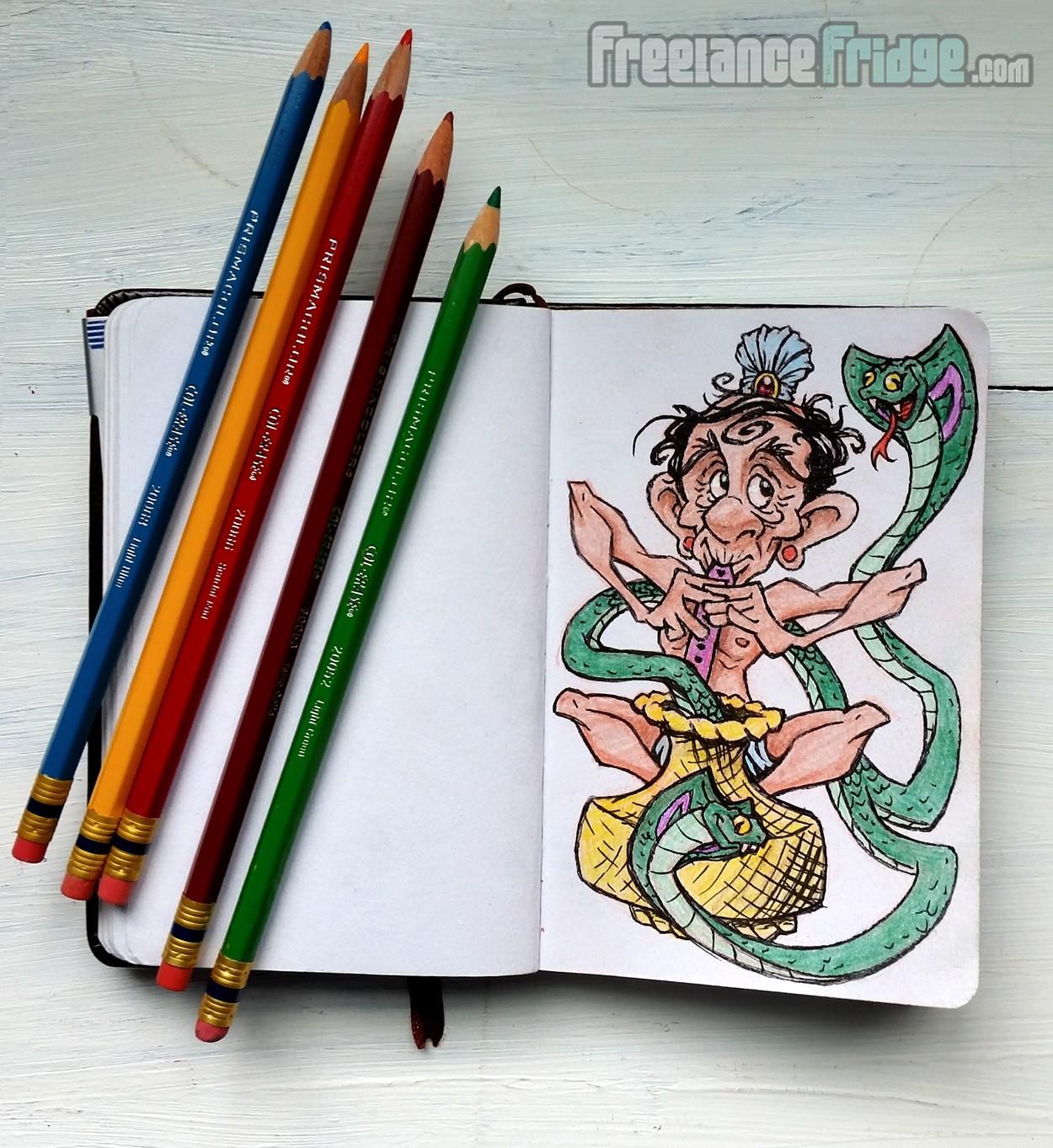 Two Headed Cobra Snake Charmer Tamer Cartoon Sketch