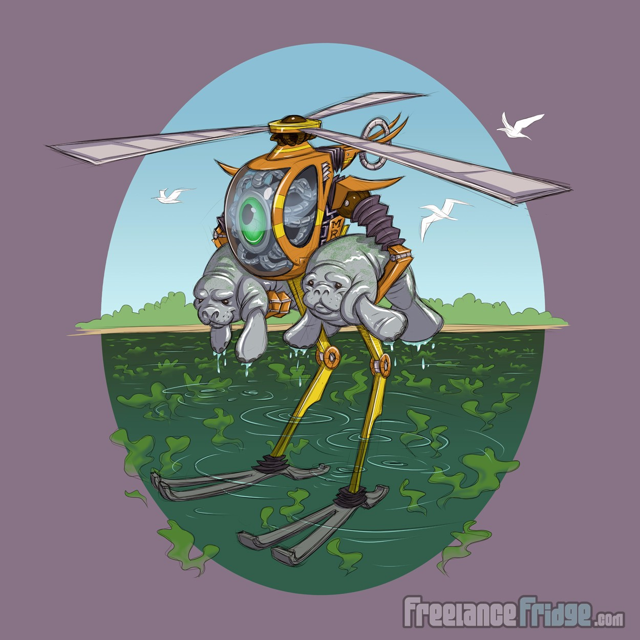 Helicopter Robot Rescuing Manatees Concept Artwork Sketch