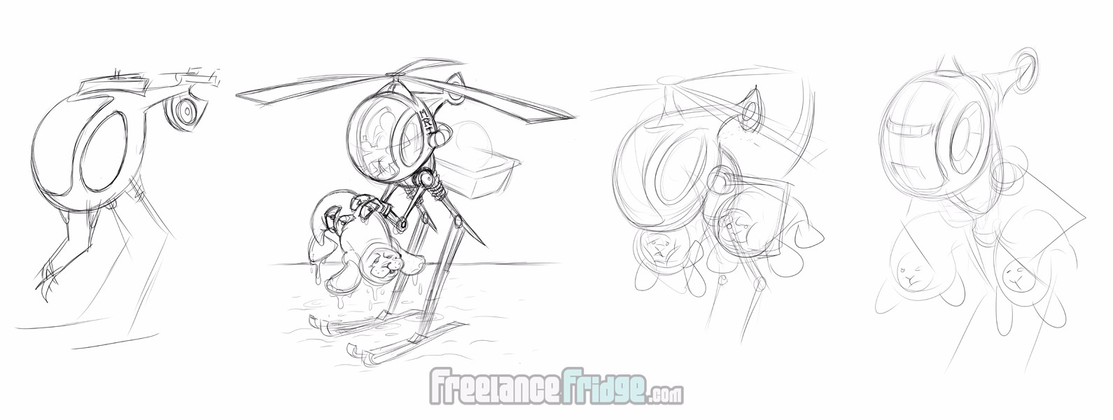 Helicopter Robot initial sketch concepts