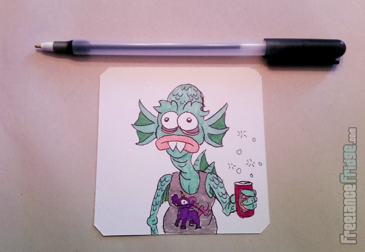 creature from the black lagoon monster hick hillbilly funny cartoon drawing