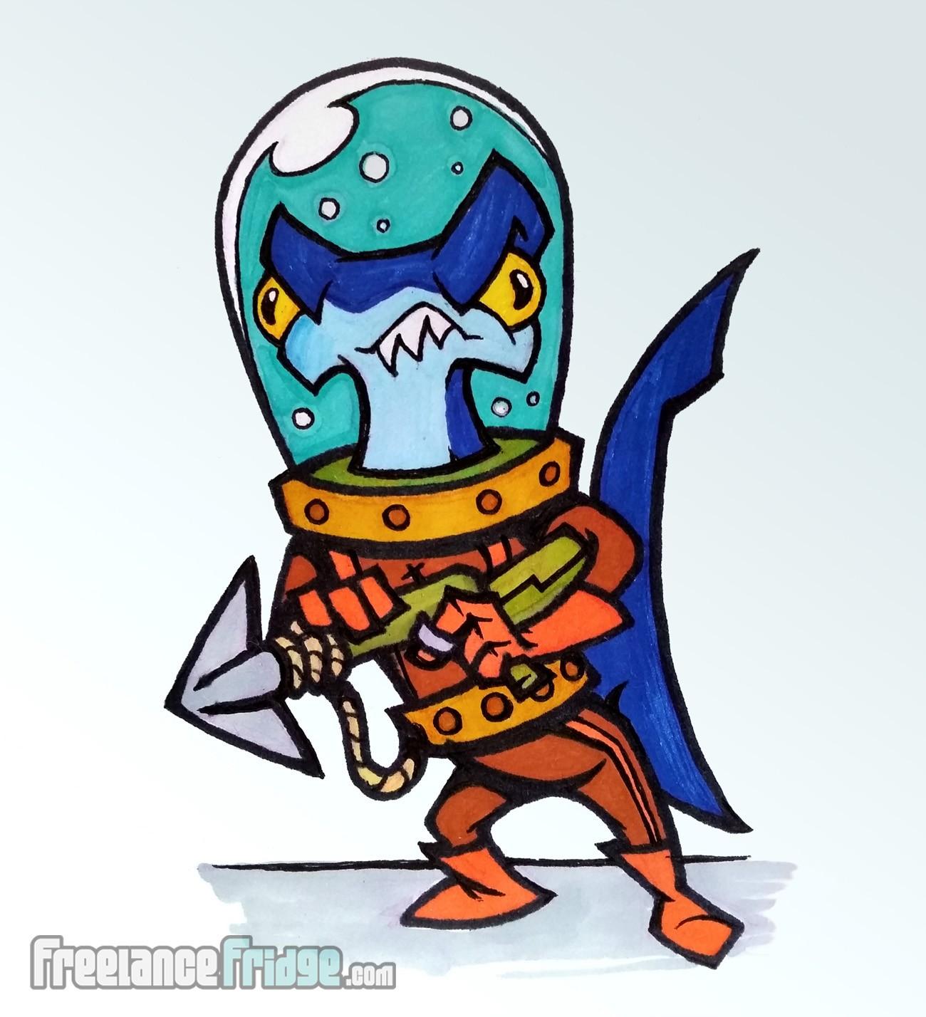 cartoon hammerhead shark wearing vintage diving suit with harpoon gun