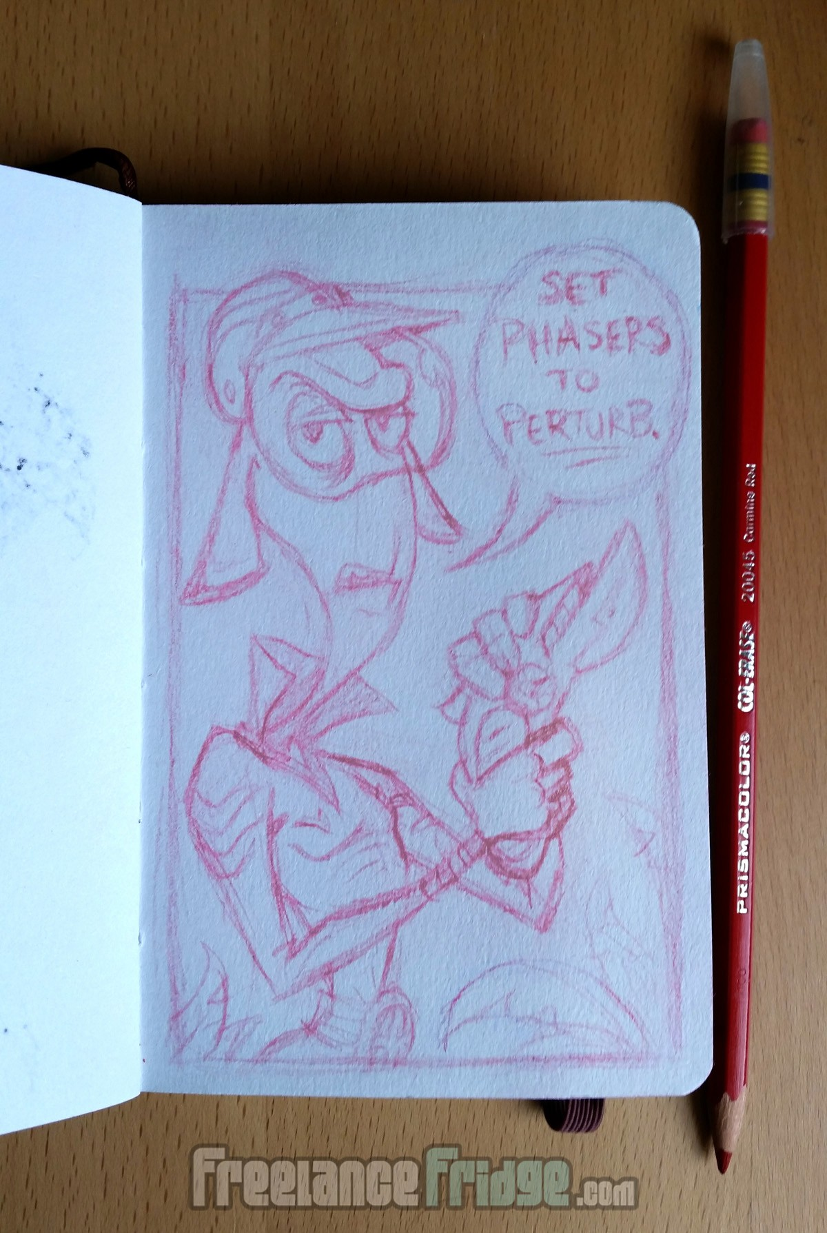 alien captain shooting perturb phasers cartoon red pencil sketch