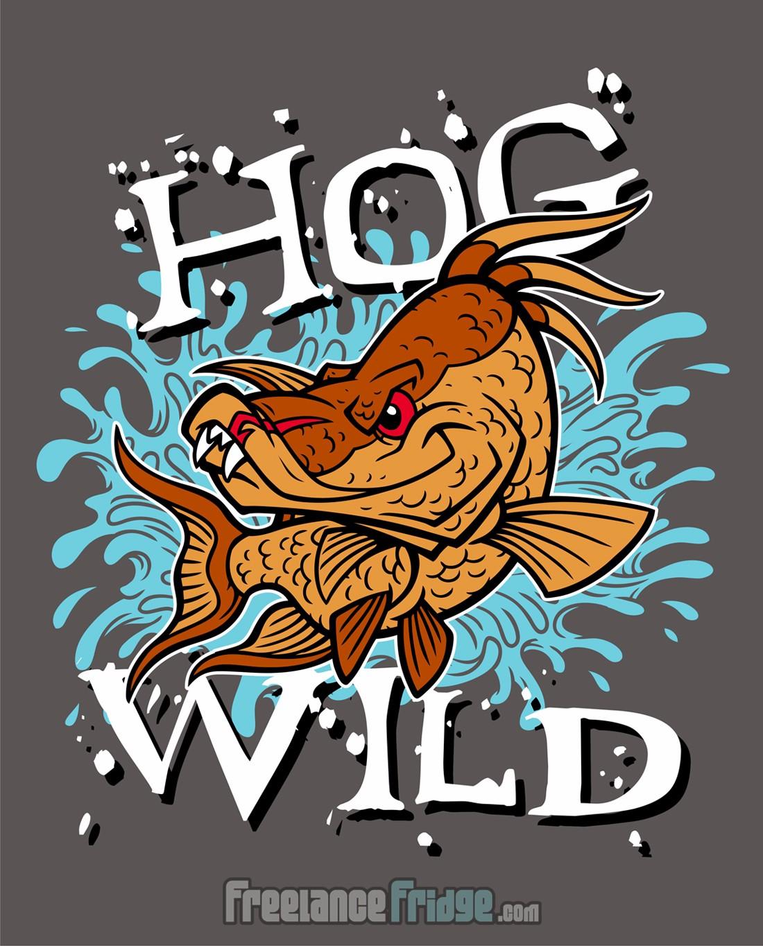 Hog Wild Hogfish Fishing T-shirt Design Illustration