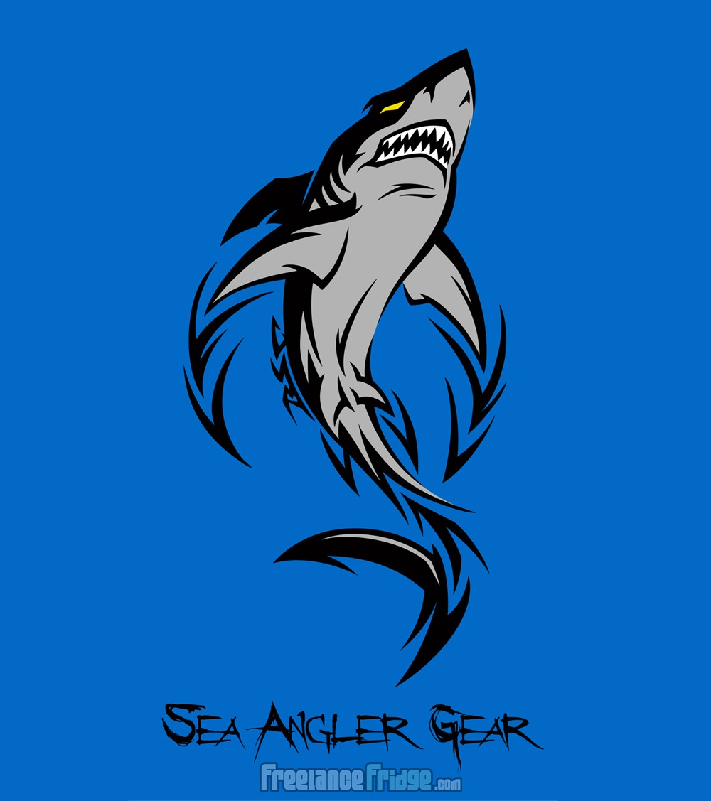 Cool Tribal Shark T-Shirt Design Illustration