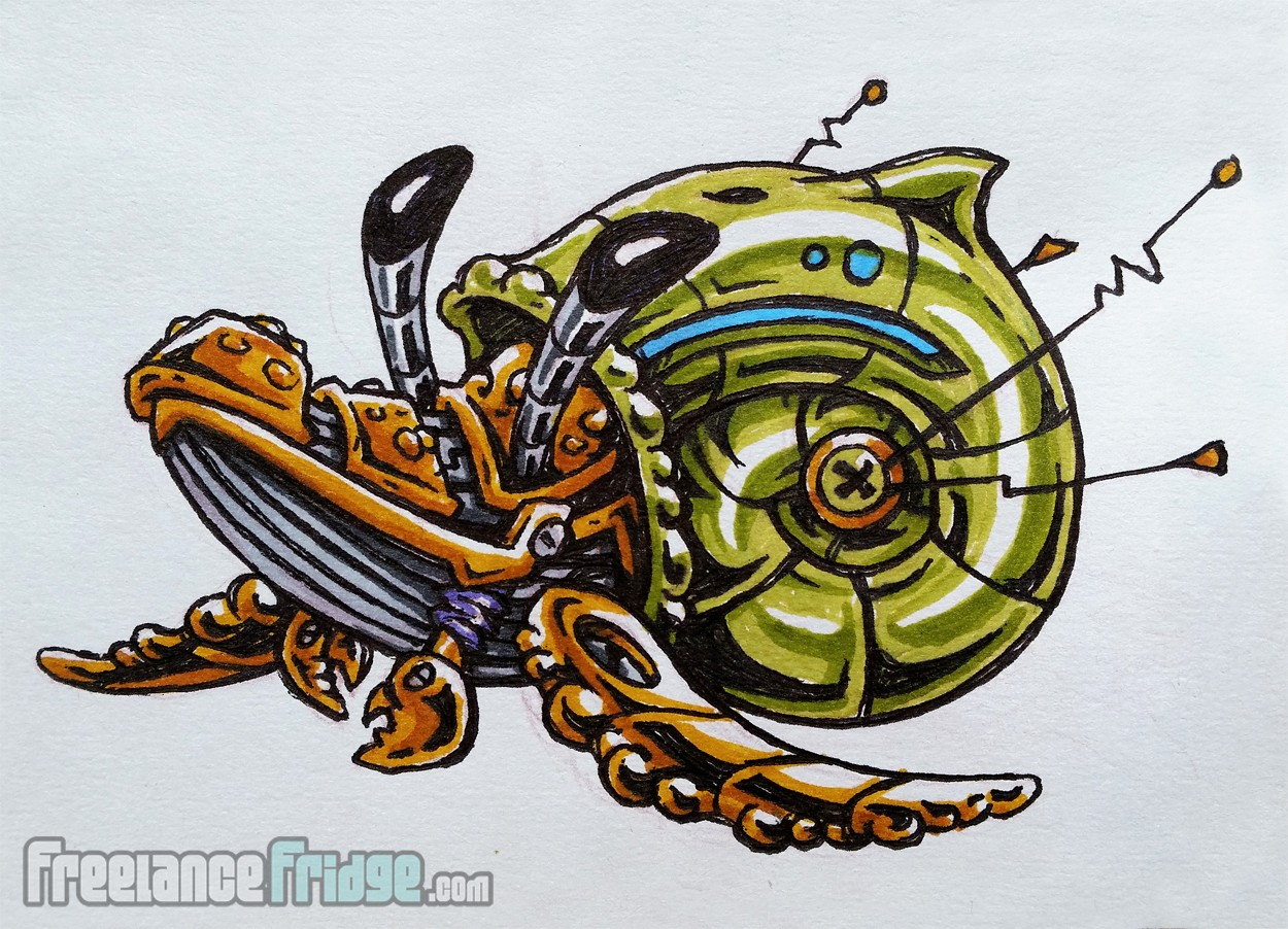 Humpback Whale Hermit Crab Mashup Robot Drawing Colored With Art Markers