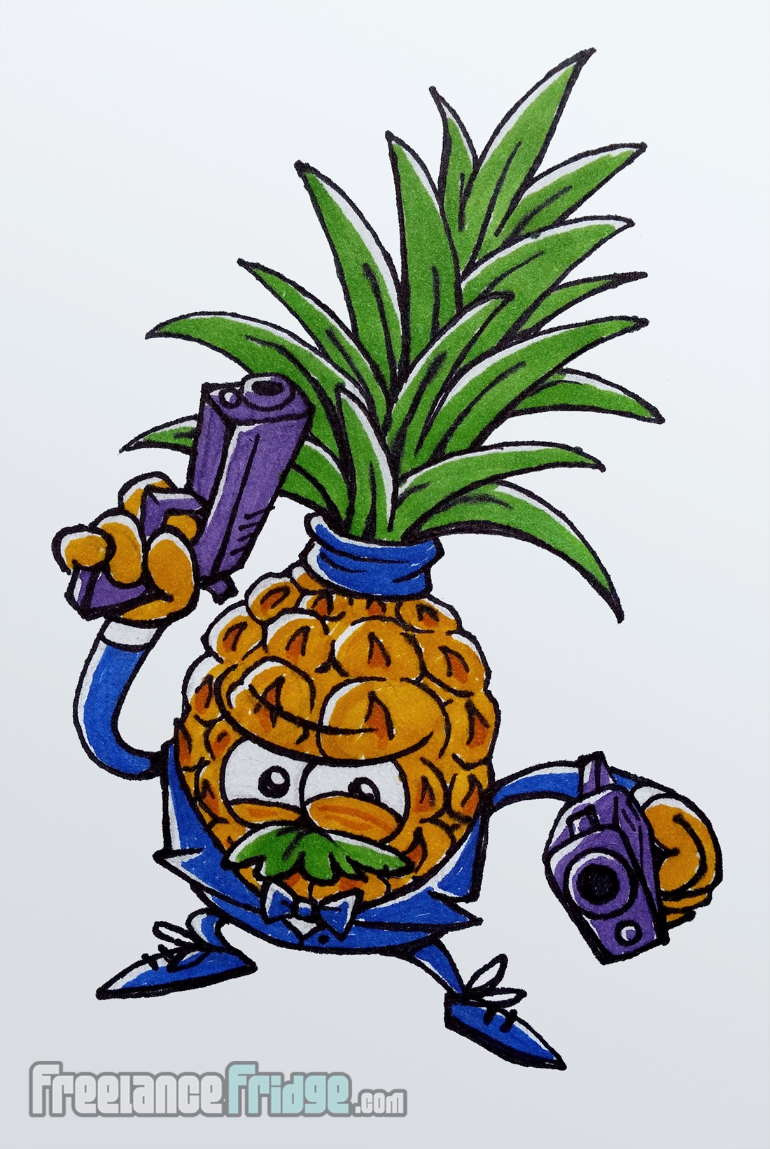 Spy Secret Agent Pinapple Cartoon Drawing Colored with Markers Artwork Sketch