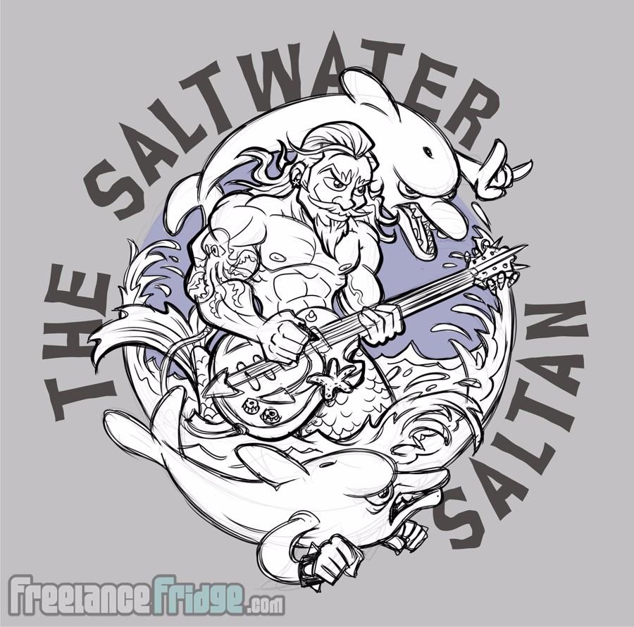 Saltwater Saltan Buff Merman Playing Guitar Design 1st Sketch