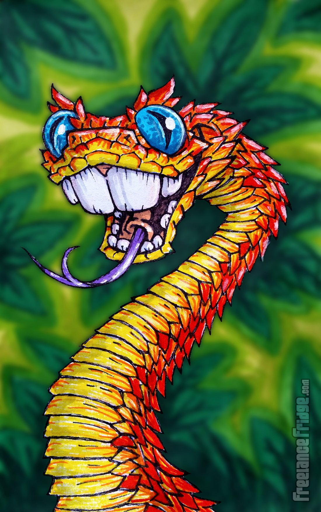 Bush Viper Snake with buck teeth Cartoon Drawing illustration colored with markers