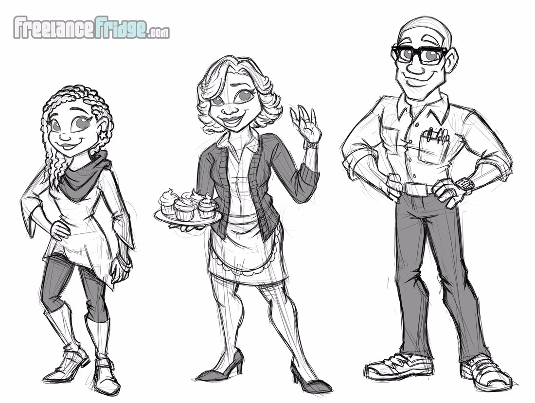 Childrens Book African American family characters concept sketches